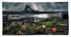 Beach Towel featuring the photograph Fishing Gear At Lindisfarne. by Brian Tarr
