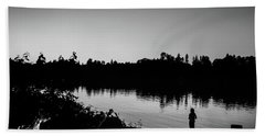 Fishing In Black And White Beach Towel