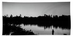 Fishing In Black And White Beach Sheet