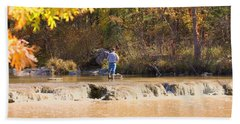Beach Towel featuring the photograph Fishing In Fall by Sheila Brown