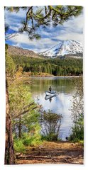 Beach Towel featuring the photograph Fishing In Manzanita Lake by James Eddy