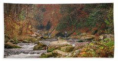Fishing In Mountain Stream Beach Towel by Tom Claud