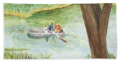 Beach Towel featuring the painting Fishing Lake Tanko by Vicki  Housel