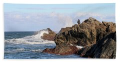 Beach Sheet featuring the photograph Fishing by Linda Lees
