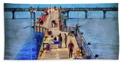 Fishing Off Galvaston Pier Beach Towel