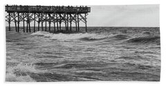 Beach Towel featuring the photograph Fishing Off The Pier At Myrtle Beach by Chris Flees