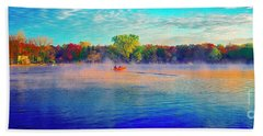 Fishing On Crystal Lake, Il., Sport, Fall Beach Towel