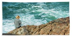 Fishing On Mutton Bird Island Beach Towel