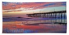Fishing Pier Sunrise Beach Towel
