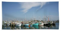 Fishing Vessels At Galilee Rhode Island Beach Towel
