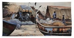 Fishing Village Of Puri Beach Towel