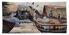 Fishing Village Of Puri Beach Towel