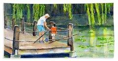 Fishing With Grandpa Beach Towel