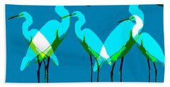 Beach Sheet featuring the painting Five Egrets by David Lee Thompson
