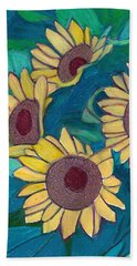 Beach Towel featuring the painting Five Golden Rings by Denise Weaver Ross