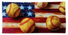 Five Old Baseballs Beach Towel