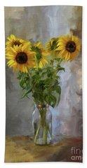 Five Sunflowers Centered Beach Towel