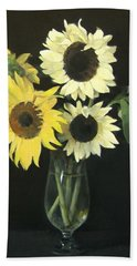Five Sunflowers In Footed Glass Vase Beach Towel