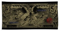 Beach Sheet featuring the digital art Five U.s. Dollar Bill - 1896 Educational Series In Gold On Black  by Serge Averbukh