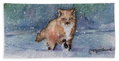 Fox In Snow Beach Sheet