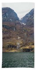 Beach Towel featuring the photograph Fjord Waterfall by Suzanne Luft