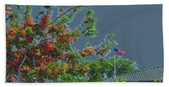 Flag And Shower Tree Beach Sheet by Craig Wood
