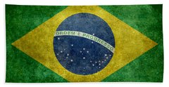 Flag Of Brazil Vintage 18x24 Crop Version Beach Towel