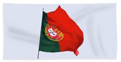 Beach Towel featuring the photograph Flag Of Portugal by Menega Sabidussi