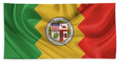 Beach Towel featuring the digital art Flag Of The City Of Los Angeles by Serge Averbukh