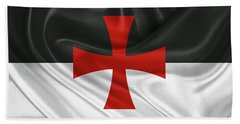 Beach Towel featuring the digital art Flag Of The Knights Templar by Serge Averbukh