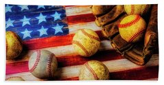 Flag With Baseballs Beach Towel