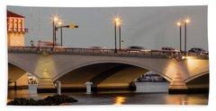 Flagler Bridge In Lights Iv Beach Towel