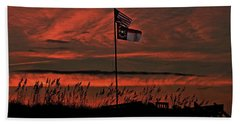 Flags And Sea Oats Beach Towel by John Harding