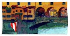 Flags At Ponte Vecchio Bridge Beach Towel