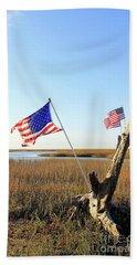 Flags Near Tybee Beach Towel