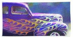 Flamed 1940 Ford Beach Towel