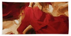 Beach Towel featuring the painting Flamenco Spanish Dance Painting 01 by Gull G