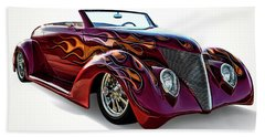 Flamin' Red Roadster Beach Towel