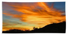 Flaming Hand Sunset Beach Towel