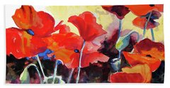 Beach Towel featuring the painting Flaming Poppies by Kathy Braud