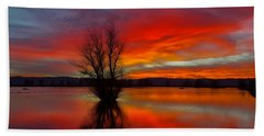 Flaming Reflections Beach Towel