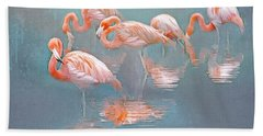 Flamingo Blues Beach Towel