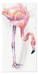 Flamingo Illustration Watercolor - Facing Left Beach Towel by Olga Shvartsur