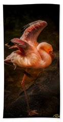 Beach Towel featuring the photograph Flamingo In Darkness by Rikk Flohr