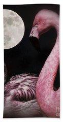 Flamingo Moon  Beach Sheet