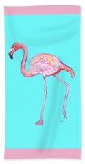Flamingo On Blue Beach Towel