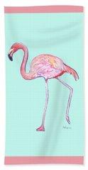 Flamingo On Mint Background Beach Towel