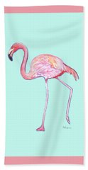 Flamingo On Mint Background Beach Sheet
