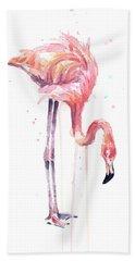 Flamingo Painting Watercolor Beach Towel
