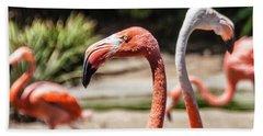 Flamingo Pair Beach Sheet